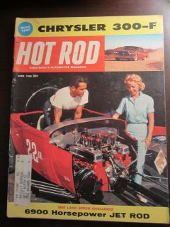 April 1960 Hot Rod Magazine Chrysler 300 F Sun Stewart Warner Moon Gauge