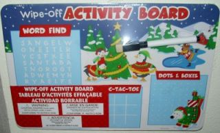 Childrens Erasable Activity Board for Christmas Car Fun Maze Hang Man and More