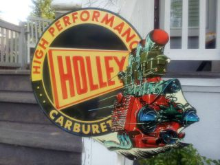 Holley Carburetor Advertising Sign Vintage Look Chevy Ford Dodge Garage Rat Rod