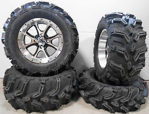 "ITP SS108 14"" Wheels Machined 27"" Mud Lite XTR Tires Polaris Ranger 900 XP"