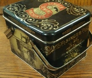 Vintage Singer Sewing Machine Collectible Tin Box with Handles Black and Gold