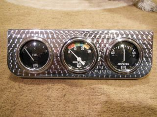 Vintage Stewart Warner 3 Gauge Panel Cluster w Big Block Logo Gauges Hot Rod