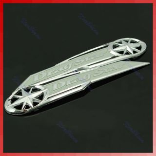 Gas Tank Chrome Silver Badge Emblem Fr Yamaha Drag Star