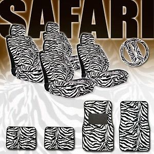 15pc Zebra Car Van Seat Covers Steering Wheel Mats Set