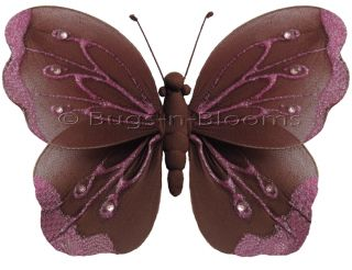 Brown Pink Shimmer Butterfly Decor Nursery Wall Baby Shower Party Decorations