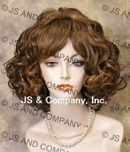 Human Hair Blend Short Perfect Curly Wavy Strawberry and Brown Mix Wig Sdra