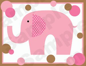 Pink Brown Polka Dot Elephants Baby Girl Nursery Wall Art Border Stickers Decals