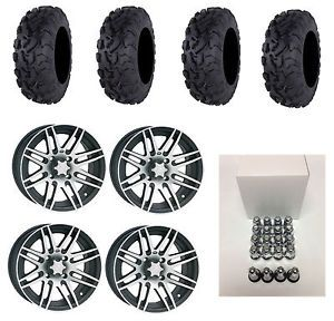 ITP SS316 14X7 Wheels Black Machined SR439 30x10 14 Bajacross Tires Arctic Cat