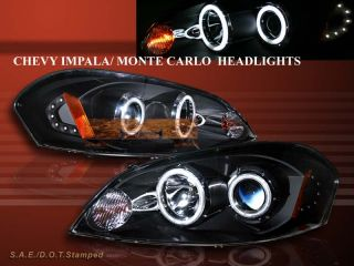 2006 2008 Chevy Impala Monte Carlo Twin Halo CCFL LED Black Projector Headlights