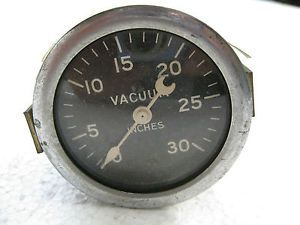 Vintage Stewart Warner Vacuum Gauge with Curved Glass Crescent Pointer