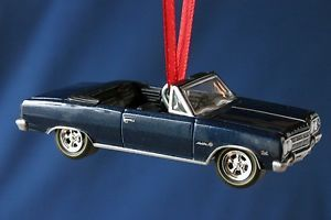 1965 Chevelle Malibu SS Convertible Dark Blue 65 Chevy Xmas Tree Ornament