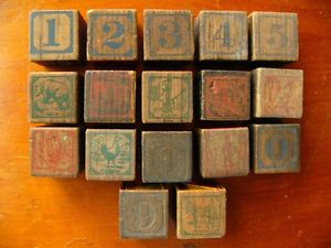 Antique 1920s Alphabet Numbers Embossed Wooden Building Blocks Set 17