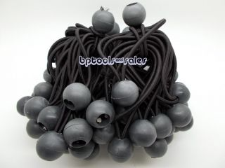 "100 6"" Black Ball Bungee Heavy Duty Cord Tarp Bungee Tie Down Canopy Straps"