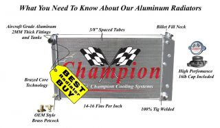 "3 Row Champion Aluminum 17"" Core 1967 1980 GM Chevy Radiator Overflow Tank"