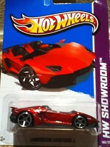 2013 Hot Wheels Showroom Lamborghini Aventador J New RARE Glossy Red