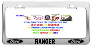 Ford Ranger License Plate Frame Funny Tag Chrome Metal Car Accessories