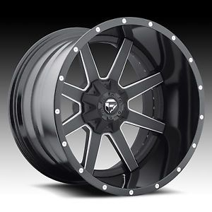 "20"" Fuel Offroad 2 PC Maverick Black Milled Rims Truck Wheels Falken Tires"