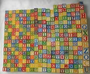 Lot 300 Vtg Wood Wooden Alphabet Building Blocks Letters Numbers Toy Kids Child