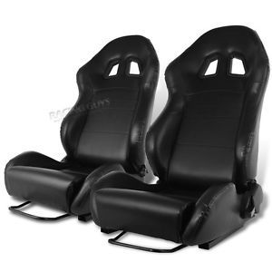 Black Leather Racing Seats Honda Toyota Nissan Pair New