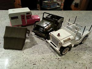 3 Tonkas Army Jeep Police Jeep camper Parts or Restore