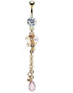 Gold CZ Pearl Chain Dangle Belly Navel Ring Fancy Button Piercing Jewelry B217