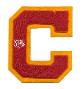 Large Vintage NFL Football Red on Yellow C Chenille Letter Varsity Jacket Patch