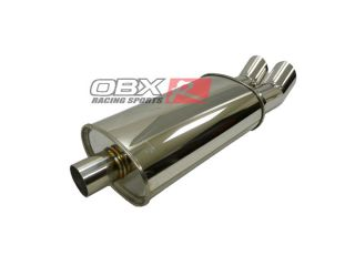 "OBX Univeral Muffler MV3013 2 5""Inet Dual Tips Honda Civic Prelude Accord S2000"