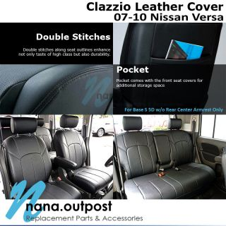 Clazzio Custom Perfect Fit Leather Seat Cover Black for 07 10 Nissan Versa