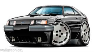 1984 1985 Ford Mustang SVO Cartoon Car Wall Graphic Man Gave Garage Decals Tools