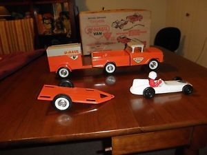 NY Lint Tool Mfg Co Ford Truck with Uhaul Trailer and Race Car