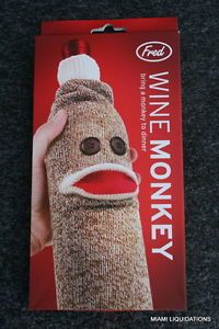 Fred Wine Monkey Sock Bottle Holder Cover Party Champagne Fun Caddy Gift Bag