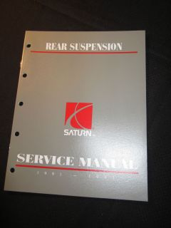 1991 1992 Saturn Rear Suspension Service Shop Repair Manual Factory 91 92