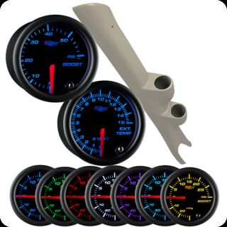 03 09 Dodge RAM Cummins Full Dual Pod Black 7 60PSI Boost Pyrometer Gauges