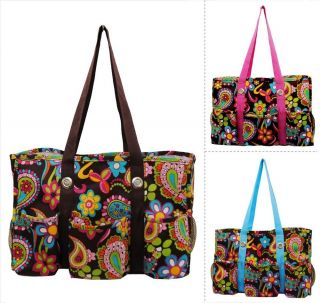 Floral Paisley Print Travel Caddy Organizer Tote Bag