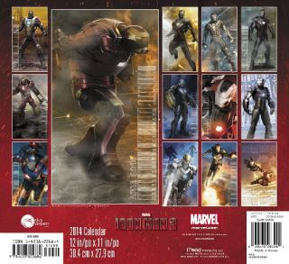 Marvel Comics Iron Man 3 Movie Comic Art 16 Month 2014 Wall Calendar New SEALED