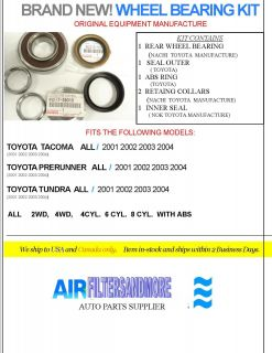 Rear Wheel Bearing Kit Toyota Trucks 2001 2004