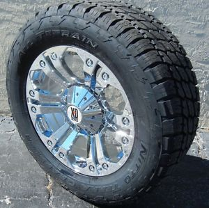 "20"" Chrome Monster Wheels Nitto Terra Grappler Tires Chevy Ford F150 GMC Sierra"
