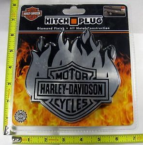 Harley Davidson Shield Flames Hitch Cover Plug Solid Metal Truck Trailer L893