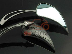 Custom Black Teardrop Mirrors for Yamaha Road Royal V Star Max XV XVS Warrior