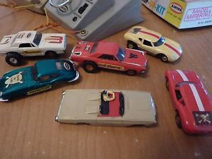 Vintage 1960s Aurora Model Motoring 6 Race Track Cars 4 Chassis 14 Tire Hot Rod