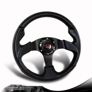 Universal JDM 6 Holed Black Carbon Fiber Style PVC Leather Racing Steering Wheel