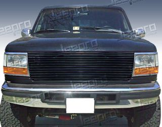 92 96 Ford Bronco F 150 F 250 F 350 Upper 1pc Replacement Black Billet Grille