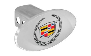 Cadillac Metal Trailer Tow Hitch Cover Plug with Color Cadillac Wreath Logo