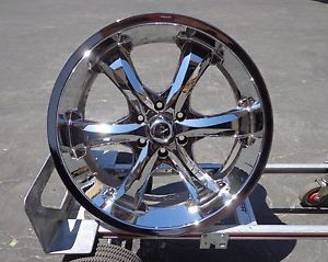 "24"" Set of 4 Mondera Chrome Wheel Rims 6 Spoke SUV 22x9 5J"
