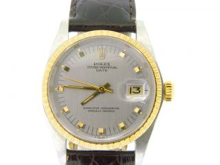Mens Rolex Date 2Tone 14k Gold Stainless Steel Watch Silver Dial Leather Strap