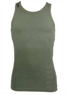 "Dolce Gabbana ""Military"" Tank Top Muscle Shirt Vest Army D G Olive Green"