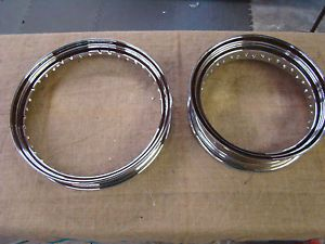 "02305 Chrome 40 Spoke Wheel Rims Indian Harley Sportster Scout FXR 19"" 16"""