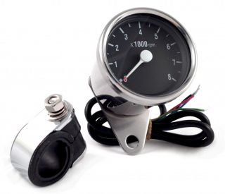 Chrome Tachometer for All Dual Fire Ignitions Mini Motorcycle Tach Universal Fit