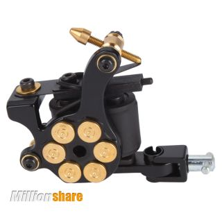Pro 8 Wrap Coils Low Carbon Steel Bullet Tattoo Machine Linner Shader Gun Black