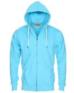 Twisted Soul Mens Fashion Stylish Plain Zip Up Sweatshirt Hoody Neon Blue